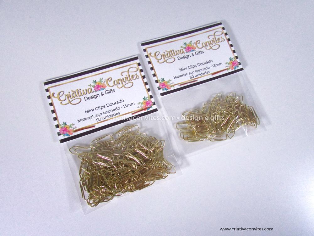 Mini clips dourado para convite de casamento