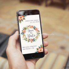Save the date arte digital convite casamento Par Perfeito