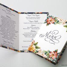 Menu para mesa de casamento floral rústico Par Perfeito
