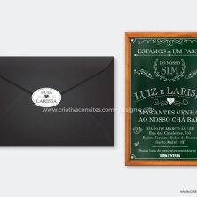 Convite chá bar lousa verde