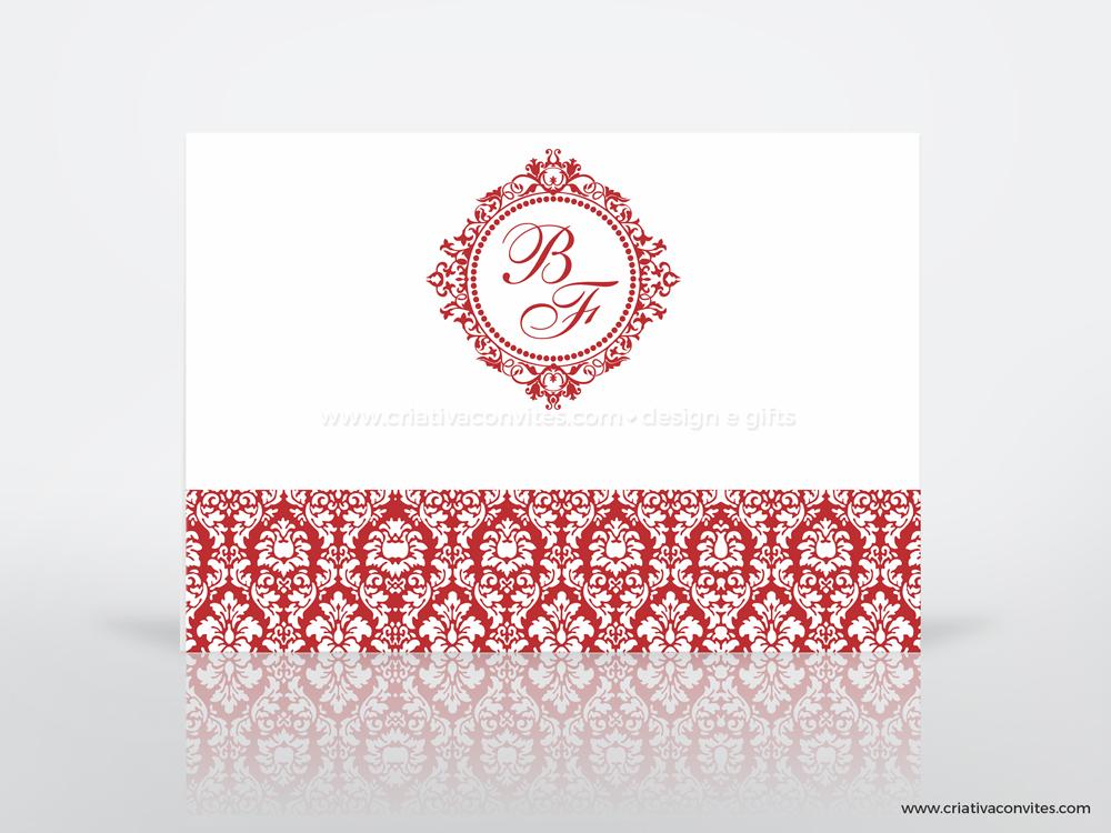 Convite de casamento brasão arabesco clássico