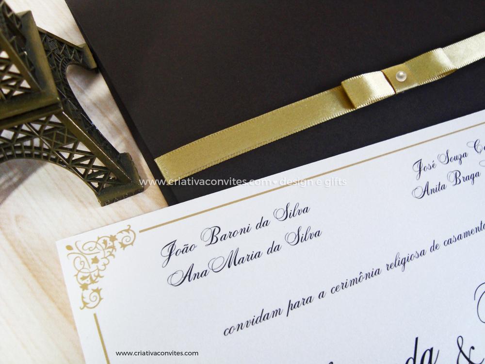 Convite de casamento clássico marrom e dourado