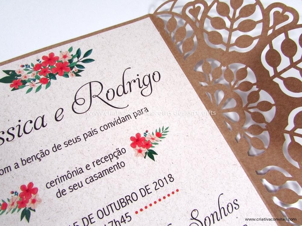 Convite de casamento corte a laser Rústico Chique