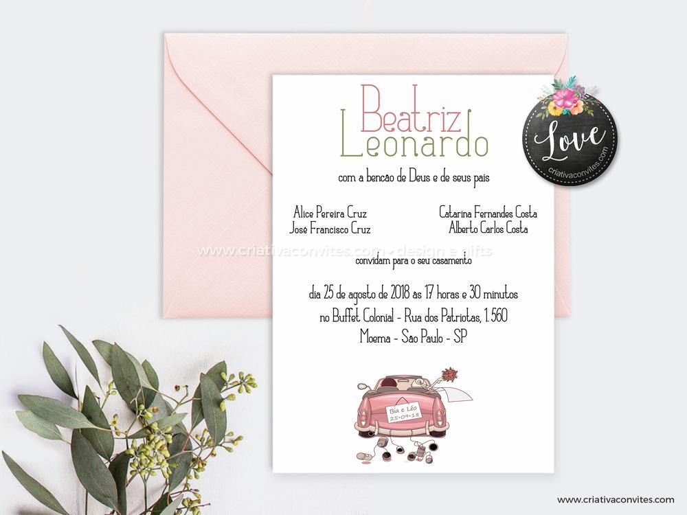 Convite de casamento destino