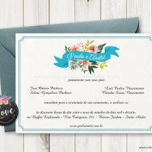 Convite de casamento floral campo lindo ramos de flores