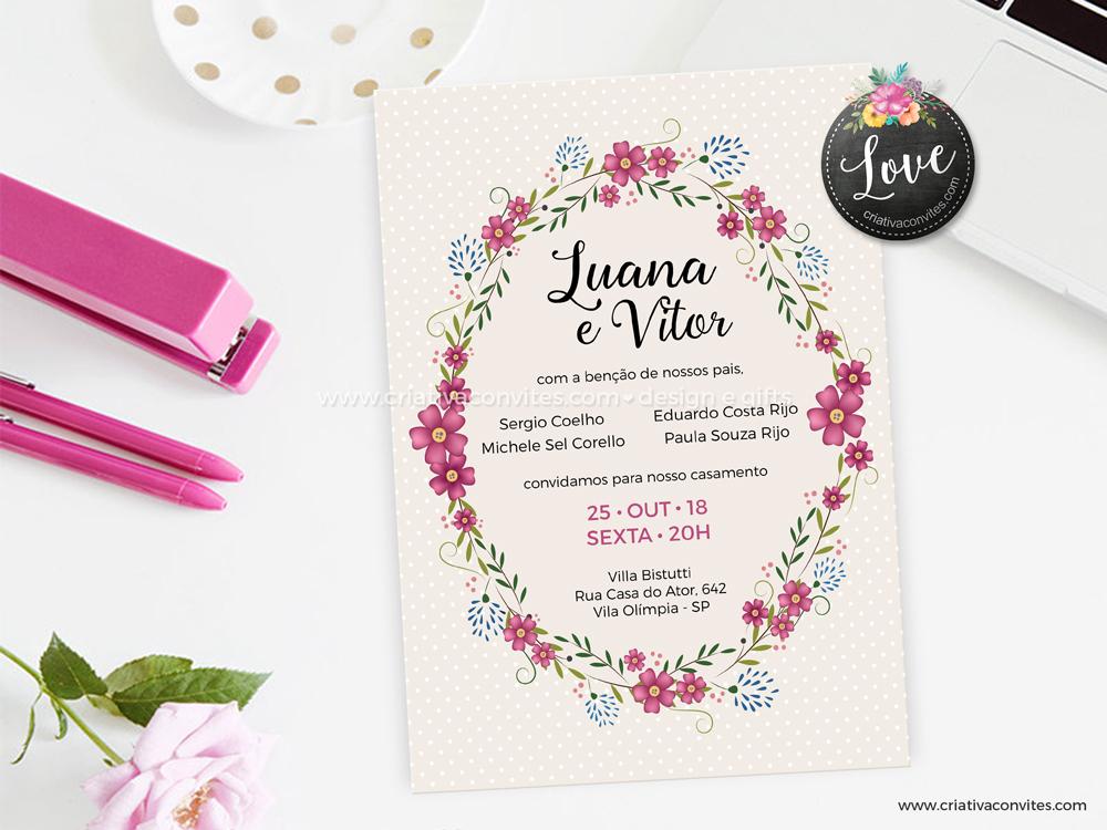 Convite de casamento floral nude jardim de amor