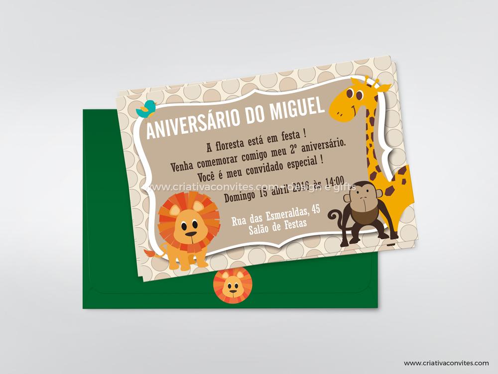 Convite infantil tema animais safari