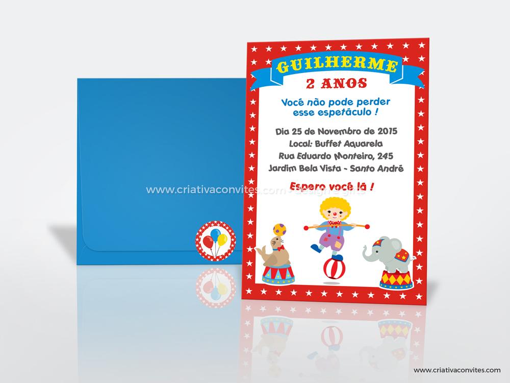 Convite infantil tema circo