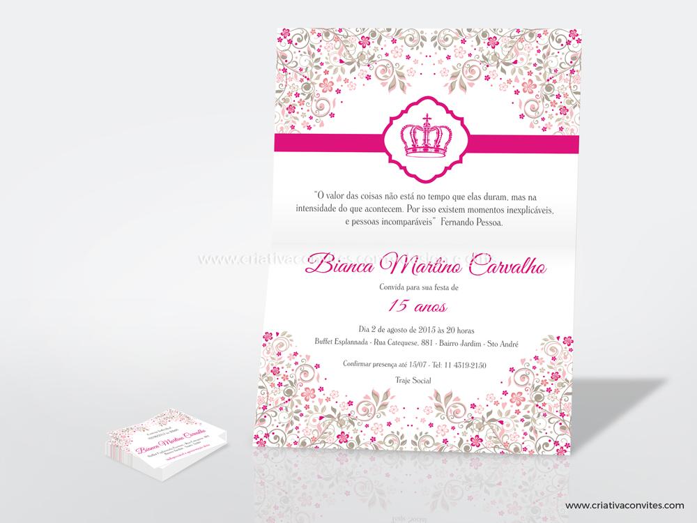 Convite para debutande e 15 anos floral princesa