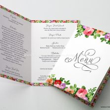 Menu para mesa de casamento floral para sempre