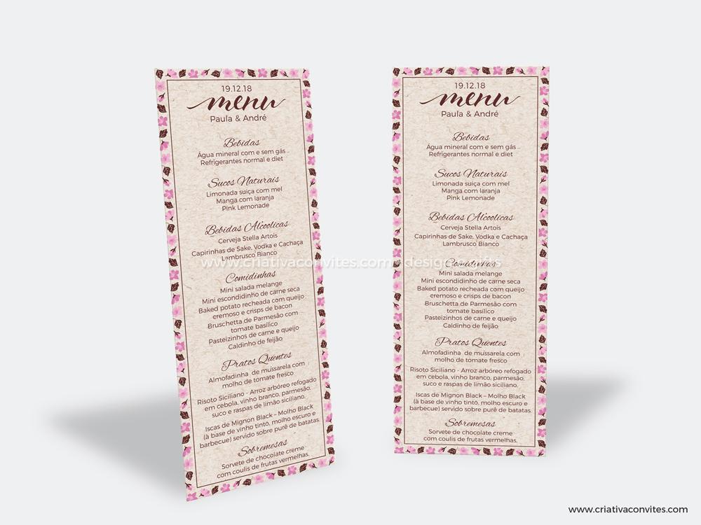 Cardápio casamento cerejeira