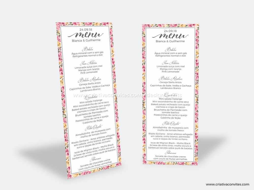 Cardápio casamento floral grande sonho