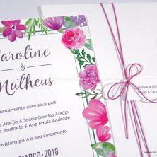 Convite de casamento floral papel texturizado romântico Amor sem Fim
