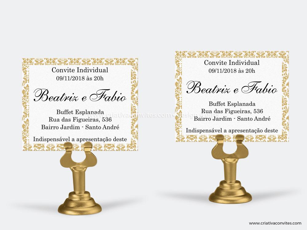Convite individual casamento requinte