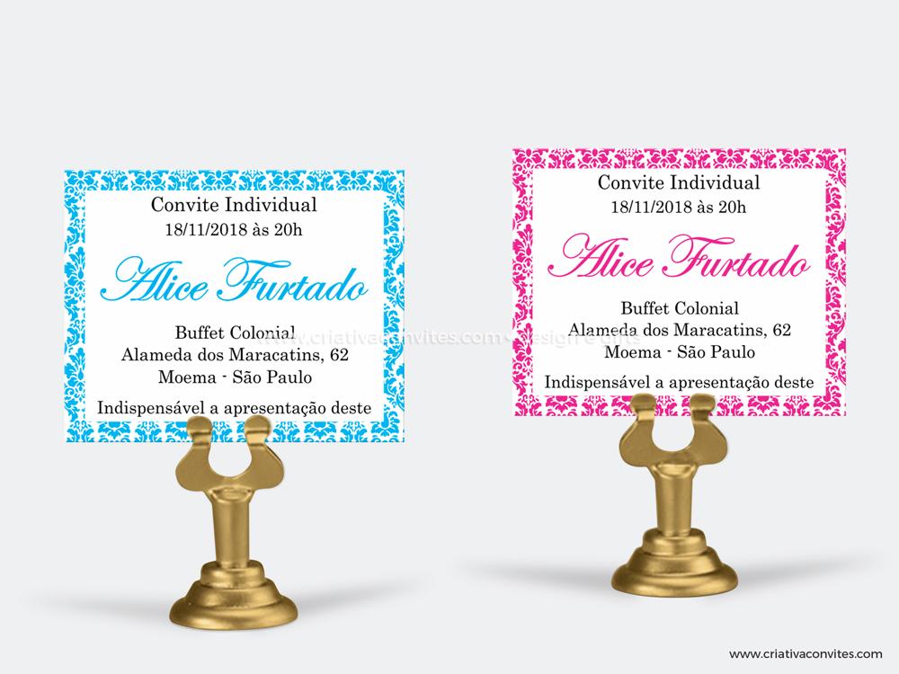 Convite individual debutante 15 anos provençal