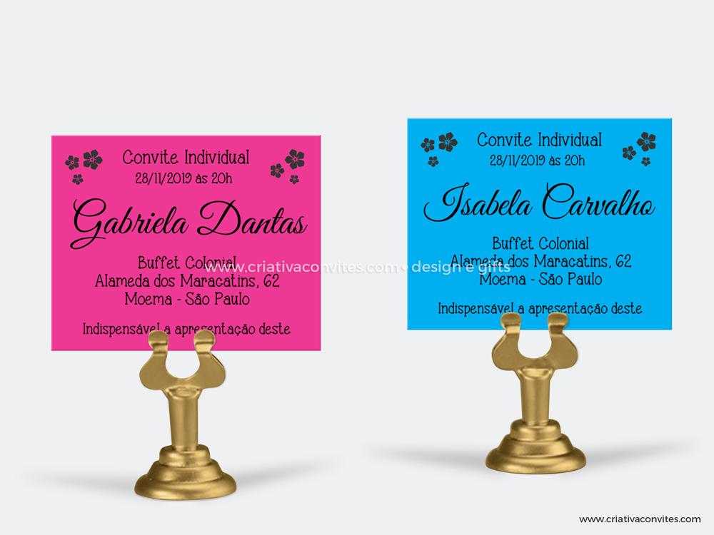Convite individual debutante floral