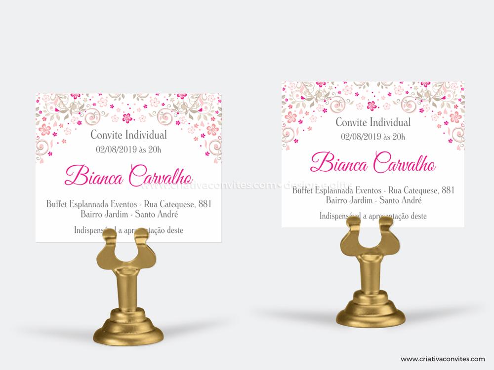 Convite individual debutante princesa