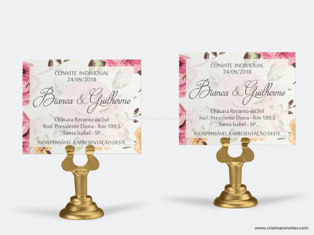 Convite individual floral grande sonho