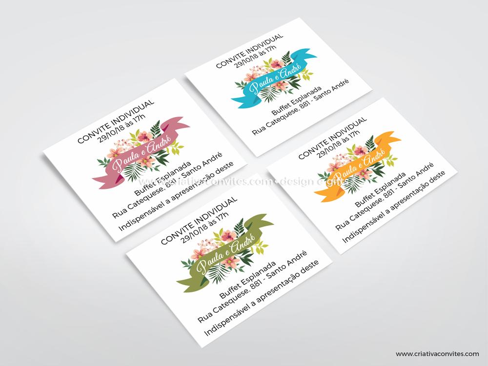 Convite individual ramos de flores