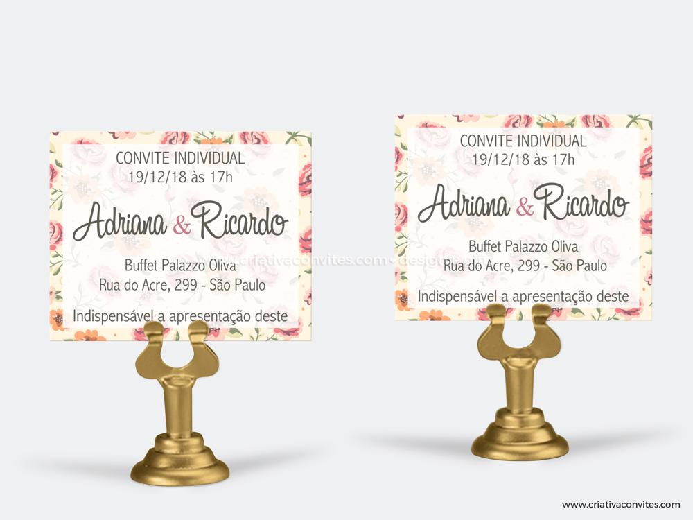Convite individual casamento romance