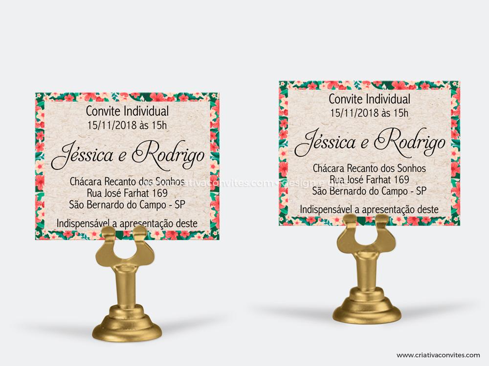 Convite individual rústico chique