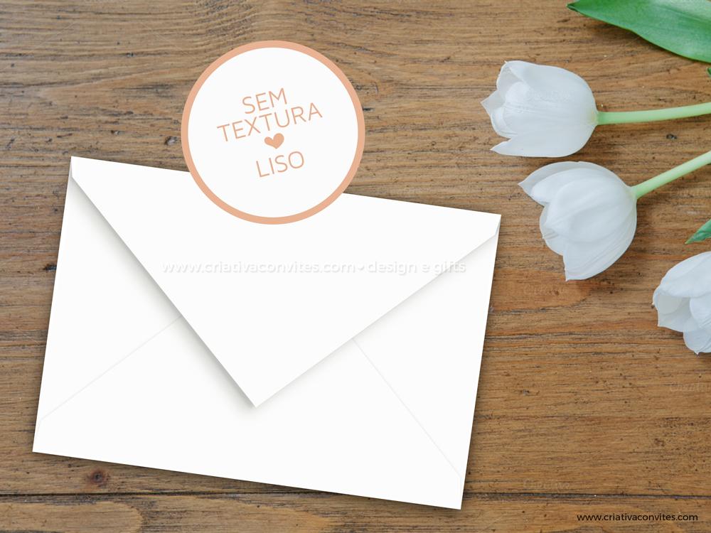 Envelope para convite de casamento branco liso eternitá