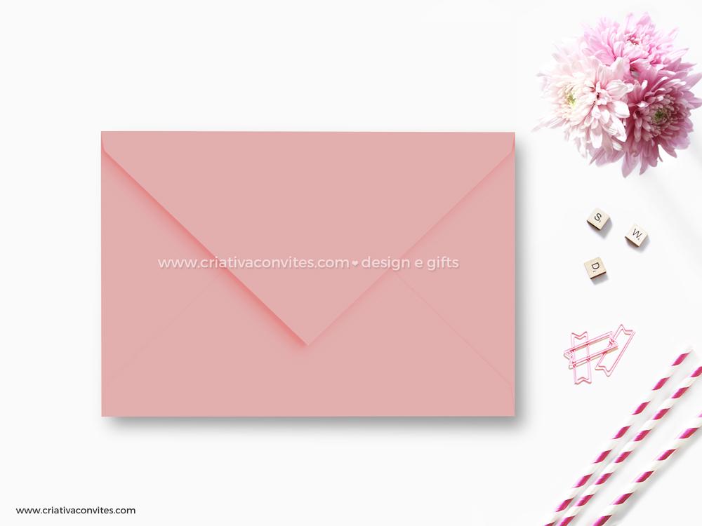 Envelope para convite de casamento debutante rosa felicitá