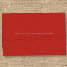 Envelope para convite de casamento vermelho onda