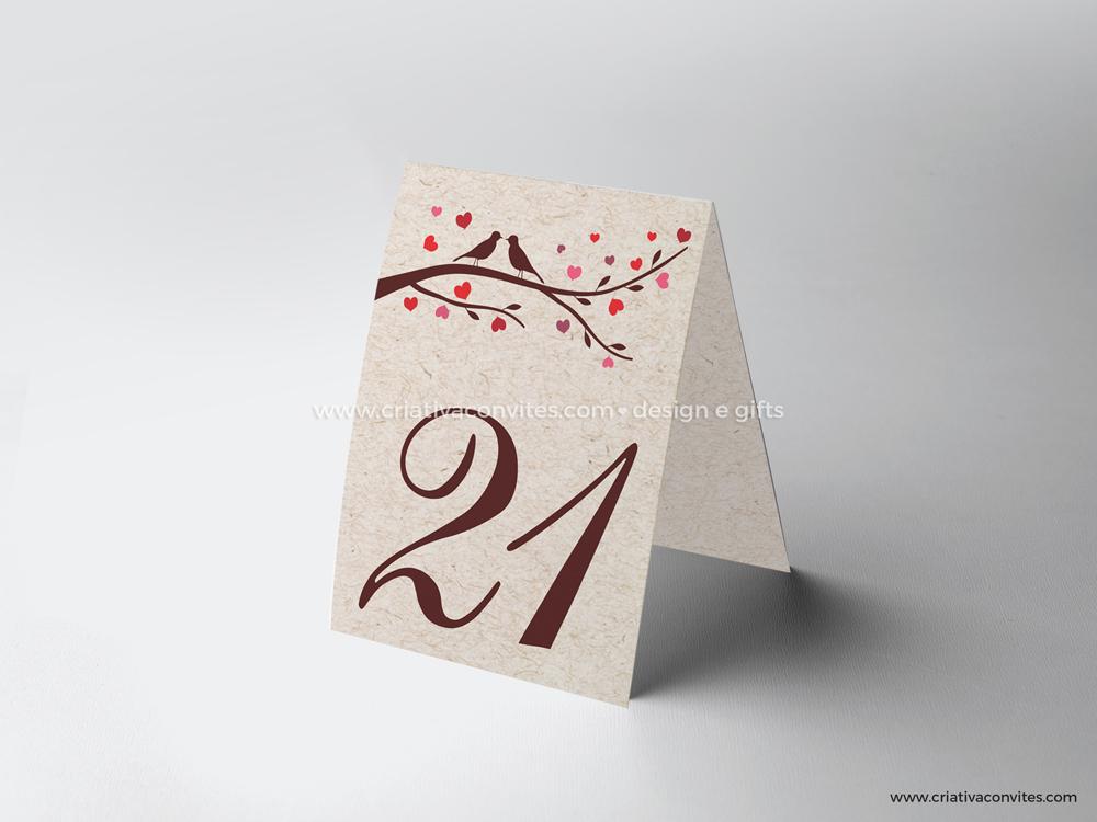 Marcador de mesa casamento ecologico