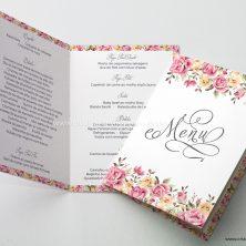 Menu para mesa de casamento floral Grande sonho