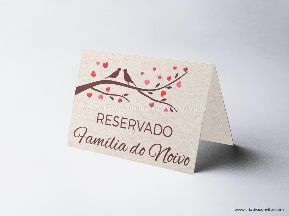 Reserva de mesa casamento ecológico