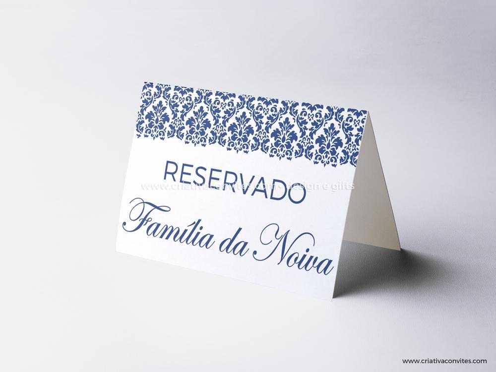 Reserva de mesa casamento monograma