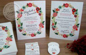 Convite e papelaria de casamento par os noivos Eliza e Léo
