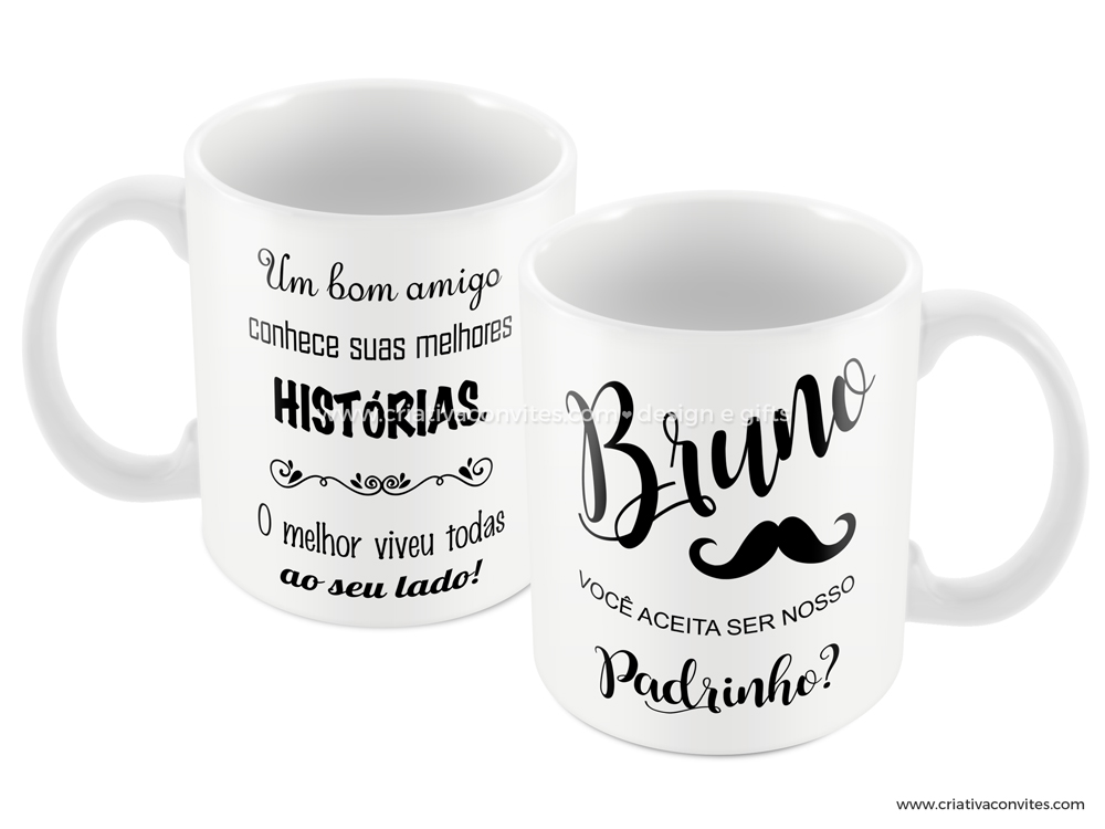 Caneca padrinho casamento Mustache