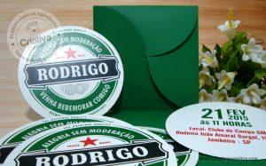 Convite aniversário adulto Heineken Rodrigo