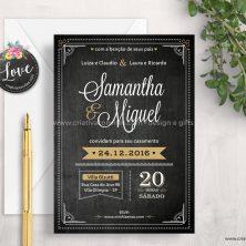 Convite de casamento arte digital elegante chalk Lousa de Giz