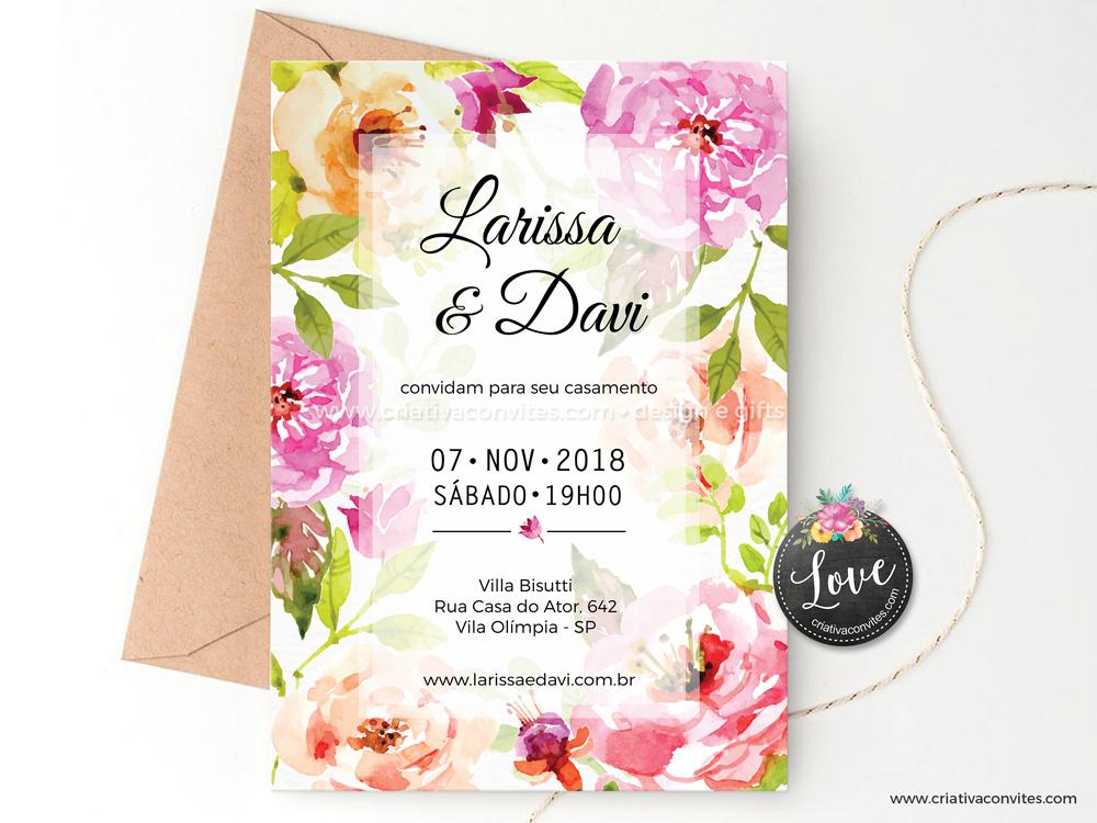 Convite de casamento arte digital floral primavera Nosso amor é lindo