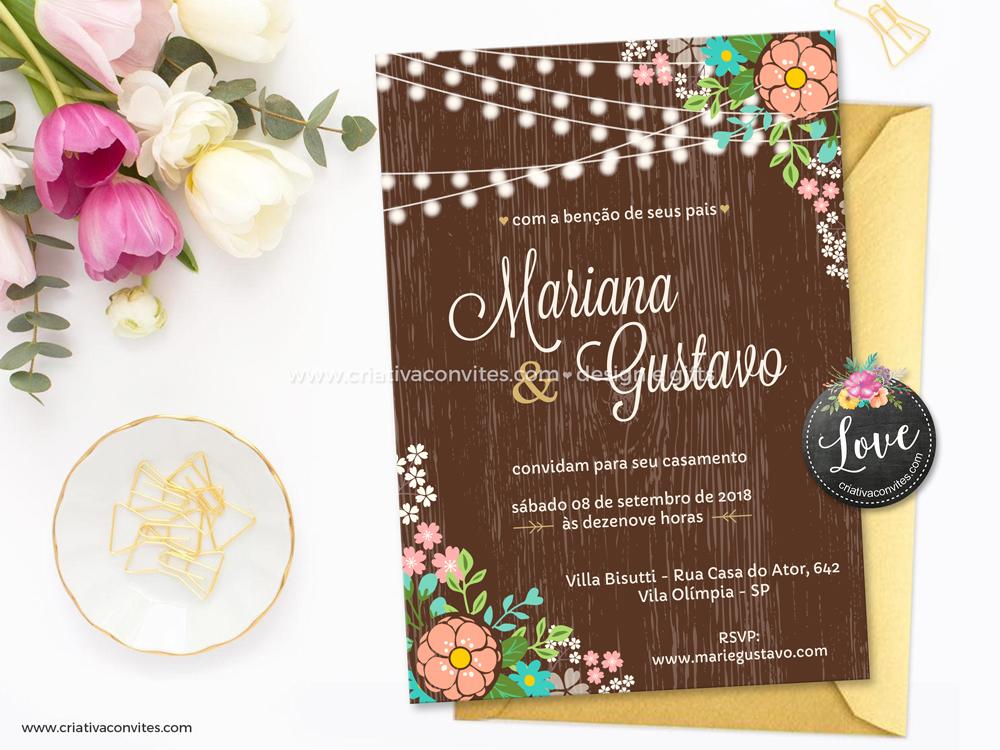 Convite de casamento arte digital vintage madeira floral Só penso em você