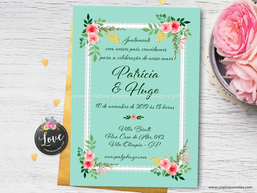 Convite de casamento arte digital Vintage