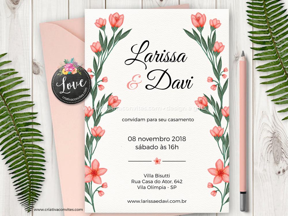 Convite de casamento floral rosa nude Alegria
