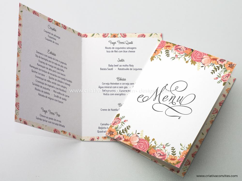 Menu para mesa de casamento floral Romance