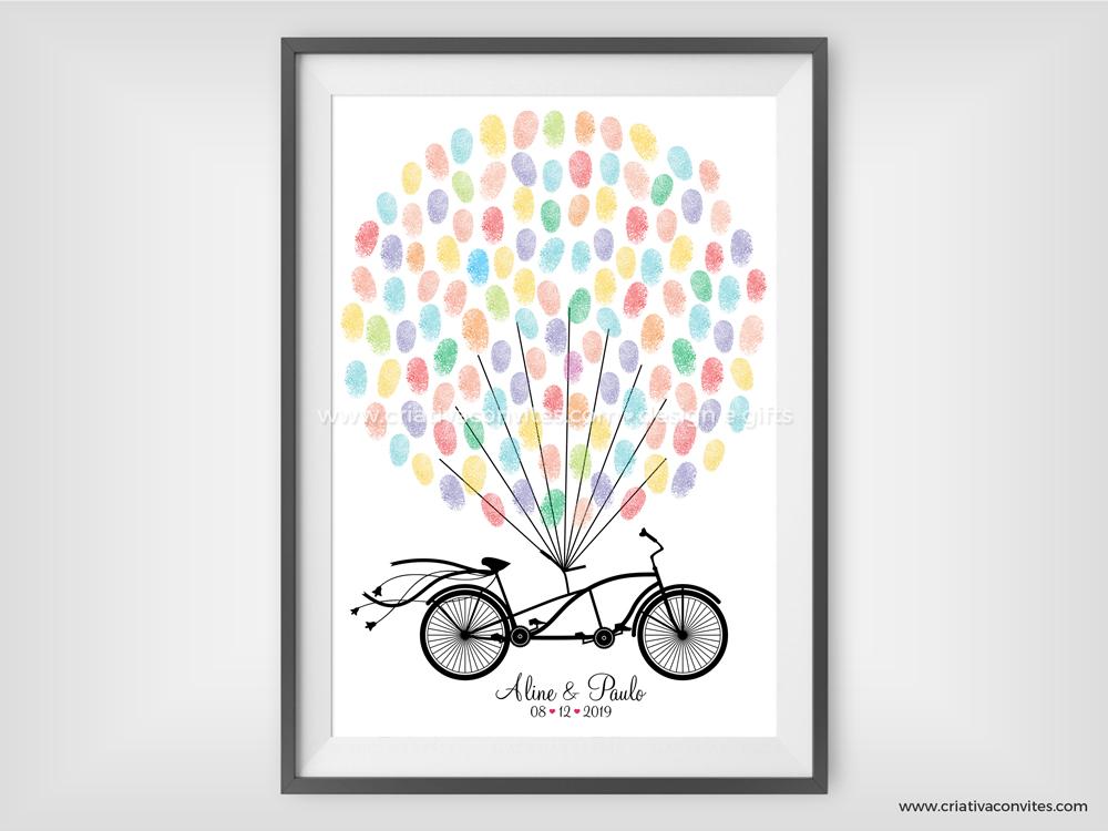 Quadro de assinaturas casamento guestbook Bicicleta
