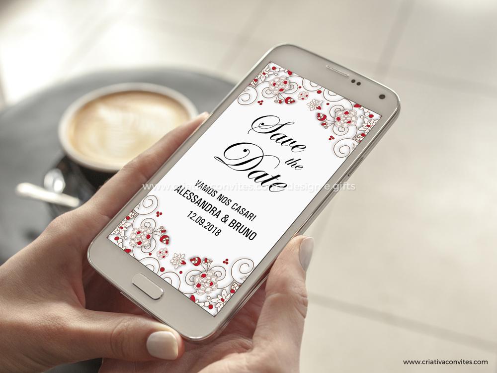 Save the date arte digital convite casamento Encontro