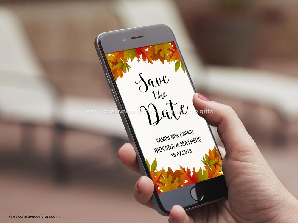 Save the date arte digital convite casamento Outono