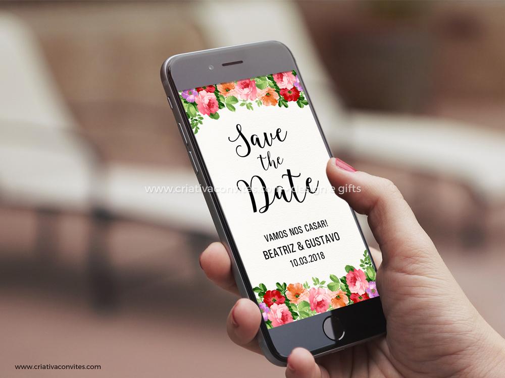 Save the date arte digital convite casamento Para Sempre