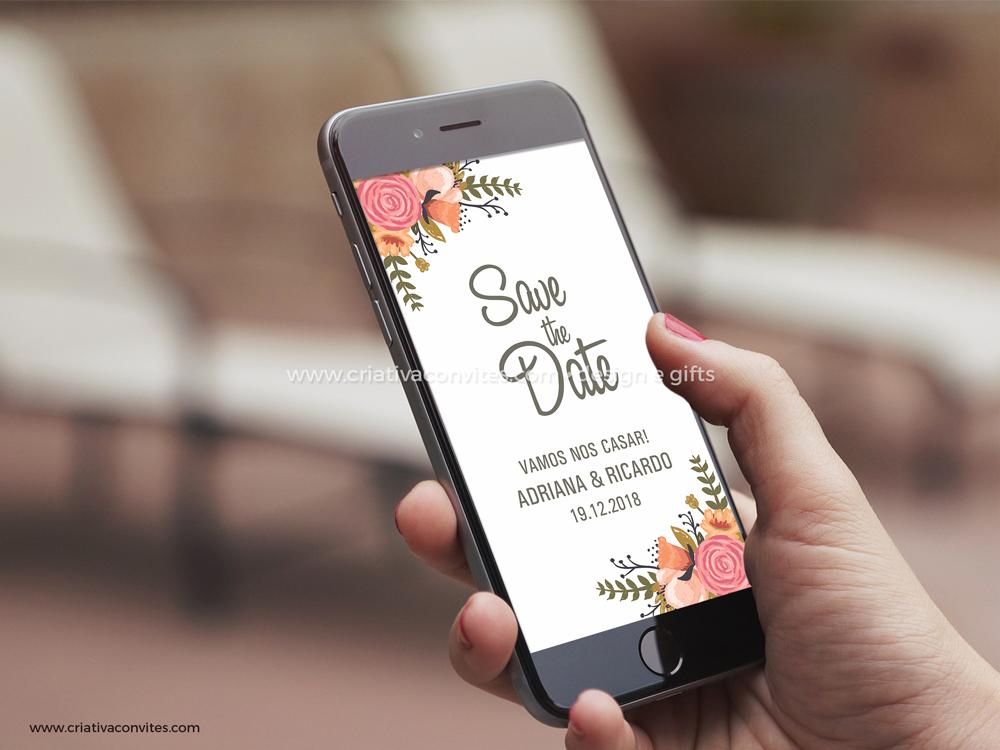 Save the date arte digital convite casamento Romance