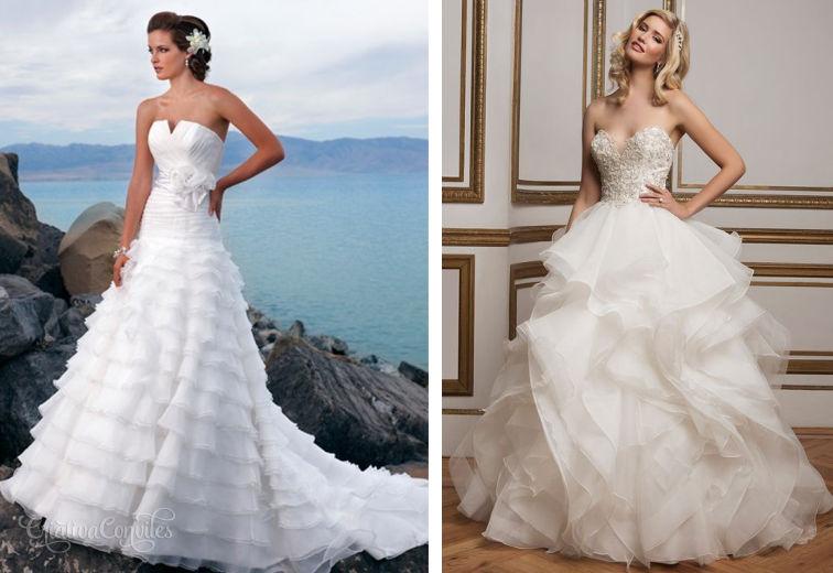 Vestido de noiva com camadas